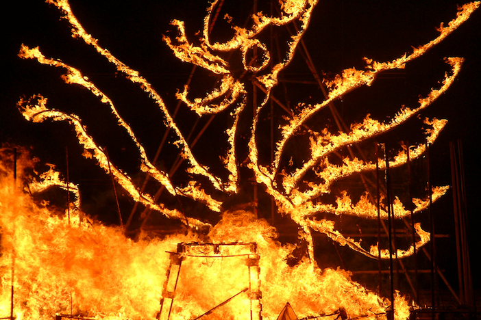A fire sculpture at Burning the Clocks in Brighton