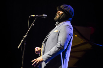 Gregory Porter, supported by Kandace Springs, performing live at Brighton Dome concert hall, Brighton, 19 April 2016