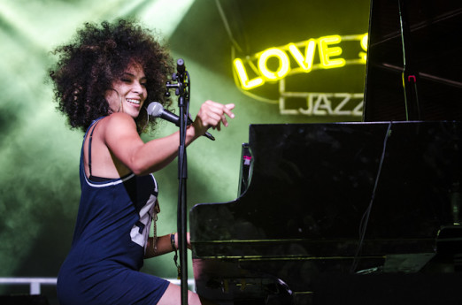 Glynde, East Sussex, 2nd July 2016. Kandace Springs performs live on the Arena stage on the first full day of Love Supreme Jazz Festival, at Glynde Place. Kandace also toured the UK supporting Gregory Porter earlier this year.