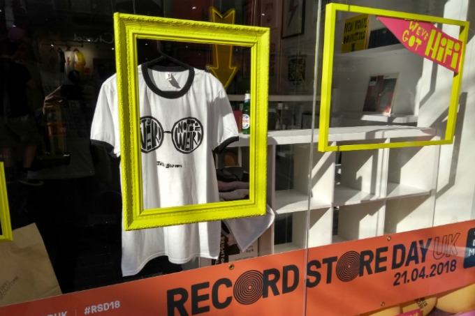 A photo of the window of a record store