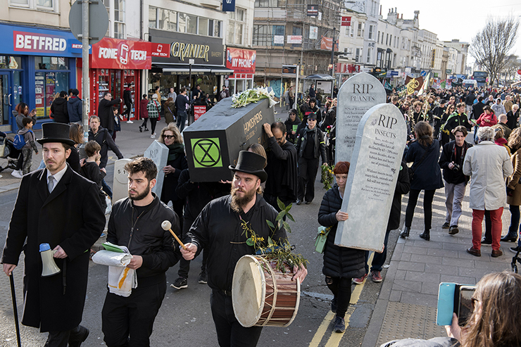 Funeral March in Brighton - a protest organised by Extinction Rebellion. It was a funeral for all life on Earth – which will become reality if we don't treat the climate and ecological crisis as the emergency it is. Photography by DFphotography / Danny Fitzpatrick
