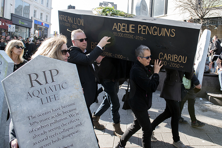 Funeral March in Brighton - a protest organised by Extinction Rebellion.