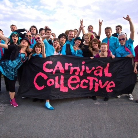 A photo of Carnival Collective on Brighton seafront ahead of their Komedia gig