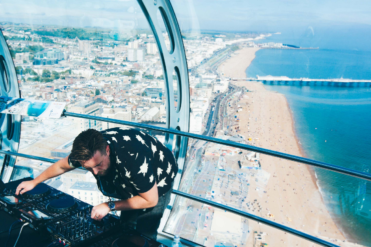 A live DJ performance from the Brighton i360 pod as part of United We Stream supporting the night-time economy during the Covid-19 coronavirus pandemic
